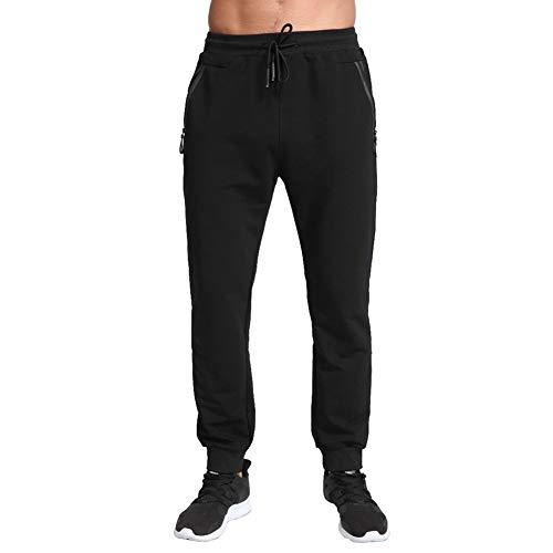 Tansozer Pantaloni Tuta Uomo Cotone Pantaloni Sportivi Uomo Running Jogging Fitness Pantalone Joggers Uomo Slim Fit Felpa Corsa Pantaloni Neri XL