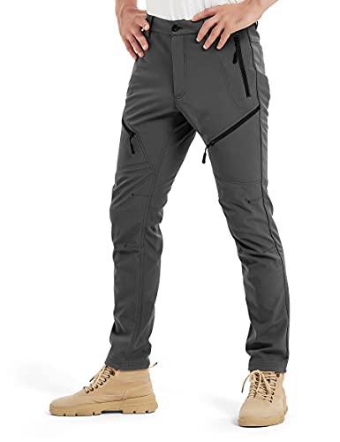 KUTOOK Pantaloni Trekking Invernali da Uomo Resisitente Impermeabile Pantaloni Softshell da Escursionismo Montagna Arrampicata Outdoor,L