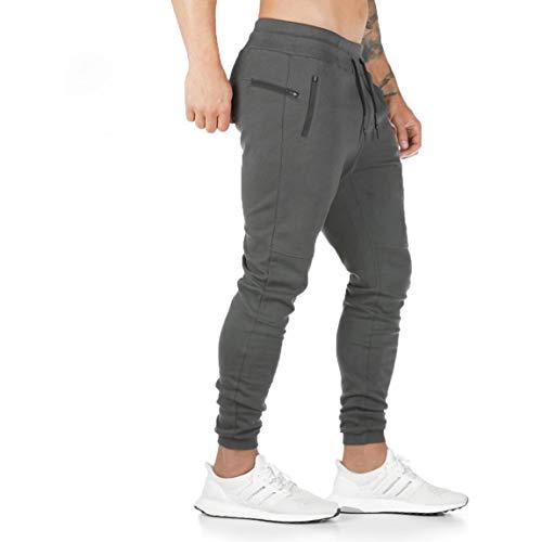 ZOXOZ Pantaloni Tuta Uomo Pantaloni Sportivi Uomo Cotone Leggero Pantaloni Fitness Gym Palestra Uomo Pantalone Stretti Grigio M