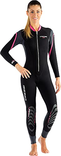 Cressi Lei Monopiece Wetsuit 2.5mm - Muta Monopezzo per snorkeling, nuoto e sport acquatici, in Neoprene Ultra Stretch 2.5mm, per Donna, Nero/Grigio/Rosa, S