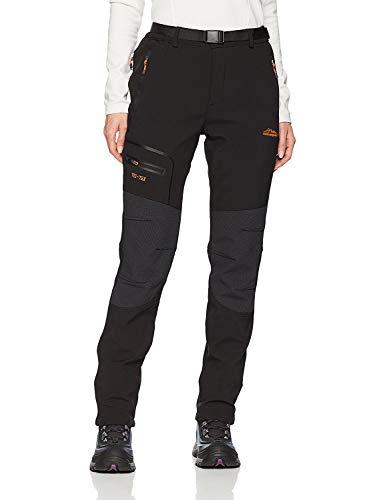 BenBoy Pantaloni Trekking Donna Invernali Impermeabile Caldo Pantaloni Softshell Outdoor Pantaloni da Arrampicata Escursionismo,KZ1812-Black-S