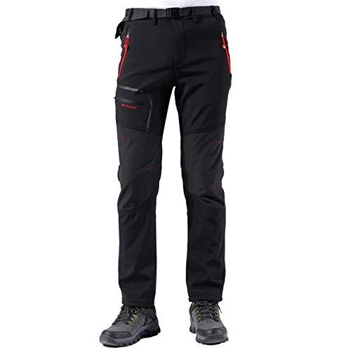 Pantaloni Trekking Uomo Asciugatura Rapida Traspiranti Impermeabile Softshell Zip off Pantaloni da Montagna Arrampicata Escursionismo Outdoor (Nero, Medium)