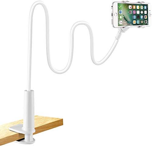 LONZOTH Supporto per Cellulare, Cellulare Supporto a Collo di Cigno Supporto Universale per iPhone Smartphone Cellulare Tablet 360 Gradi Rotazione (Bianco) (Supporto per Telefono)