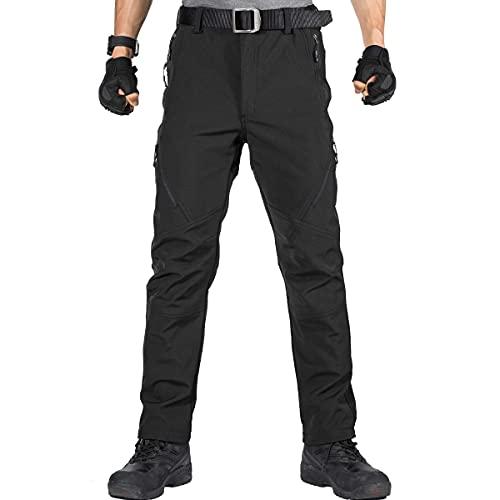 FREE SOLDIER Pantaloni da Lavoro da Uomo per attività All'aperto Pantaloni Softshell Sci Termici Impermeabile Pantaloni Trekking Invernali Pantaloni da Caccia(Nero,50 Lungo)