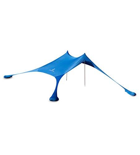 Tenda da spiaggia in lycra di alta qualità – pop-up Tent 'Ole' con aste in alluminio e ancoraggi a sabbia riempibili blu (210 x 210 cm)
