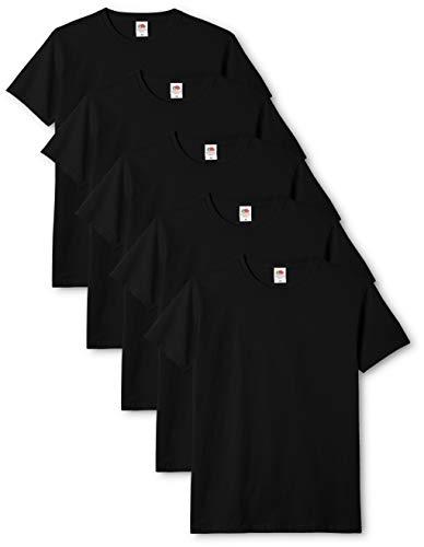 Fruit of the Loom Original T., T-Shirt Uomo, Nero (Black 36), XX-Large(Pacco da 5)