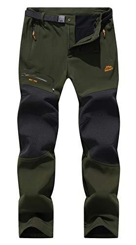 BenBoy Pantaloni Trekking Uomo Invernali Impermeabile Caldo Pantaloni Softshell Outdoor Pantaloni da Arrampicata Escursionismo,KZ1672M-Army Green2-M