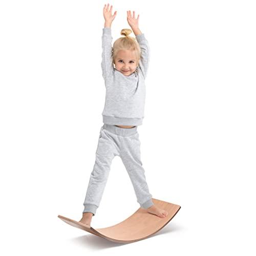 Milliard Balance Board in Legno, Montessori Tavoletta D'equilibrio Curva - Waldorf Wobbel Board