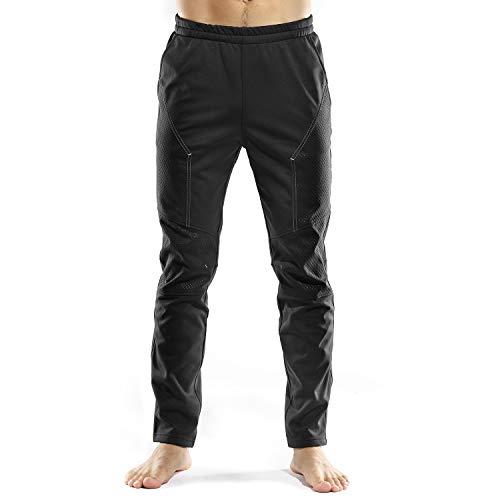 INBIKE Pantaloni Lunghi Invernali Antivento Termici per Ciclismo Traspirante da Uomo Outdoor Sports(Nero&Grigio,L)