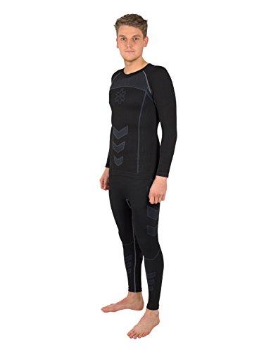 Gregster Set da Sci Uomo - Maglia Termica + Pantaloni Termici Aderenti - Ideale per Sport nella Neve, Snowboard, Trekking o Attività all'Aperto nella Stagione Invernale - Colore Nero