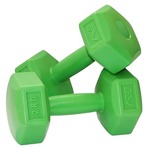 SportVida Hexagon, set di manubri corti – Set per fitness a casa – Mini manubri multifunzionali – non girevoli – perfetto per la casa (2 x 2 kg)