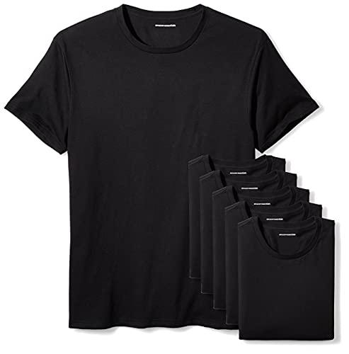 Amazon Essentials 6-Pack Crewneck Undershirts Maglietta, Nero (Black), Medium