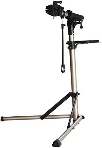 CXWXC Cavalletto per Riparazione Bici, Supporto per Manutenzione Bicicletta in Alluminio, con Vassoio Porta Utensili Magnetico, Regolabile, Leggero, Portatile Nero (Champagne)