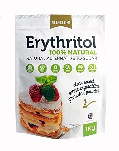 Eritritolo 100% naturale, dolcificante puro con 0 (ZERO) calorie, sostituto dello zucchero e adatto per diete cheto (1kg)