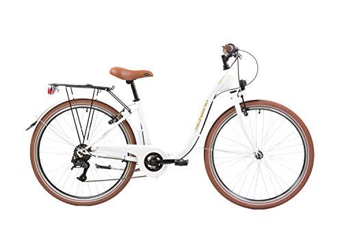 F.lli Schiano Elegance, Bici MONOTUBO Donna, Bianco-Oro, 26''
