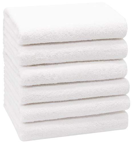 ZOLLNER 6 Asciugamani da Bagno, 100% Cotone, 50x100 cm, 400g/mq, Bianco