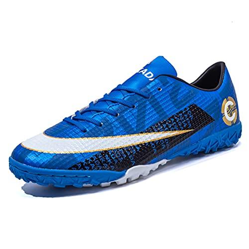 VTASQ Scarpe Sportive da Uomo Professionale Bambini Teenager Sportivo all'aperto di Calcio Unisex Scarpe da Allenamento per Calzature Nero Blu 40EU