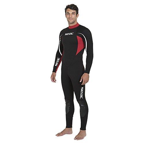 SEAC Relax Long, Muta Monopezzo in Neoprene da 2.2 mm per Snorkeling, Subacquea e Altri Sport in Acqua Uomo, Nero/Rosso, M