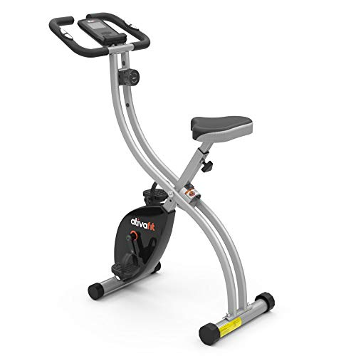 ATIVAFIT X-Bike Pieghevole Cyclette da Allenamento Bici da Fitness Pieghevole con Computer di Allenamento e Sensori delle Pulsazioni Cyclette da Casa Pieghevole 8 Livelli di Resistenza