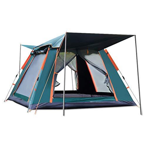 Ergocar Tenda Campeggio 3-4 Persone Ultra-Leggero Tenda Impermeabile Antivento a Cupola Leggera con Veranda per Campeggio Escursioni Arrampicata (Verde, Vinile)