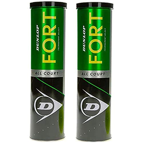 Dunlop 601357 Palla da Tennis Fort All Court Ts, 2 x 4 Ball Tin Cartonette, Multicolore