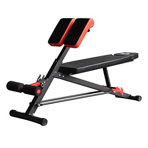 homcom Panca Hyper-Extension, Side Bend, Sit ups, Reverse Crunch, Dumbbell Row, Dumbbell Press 1 Regolazione Piana e 2 Reclinate con 4 Regolazioni del Piede