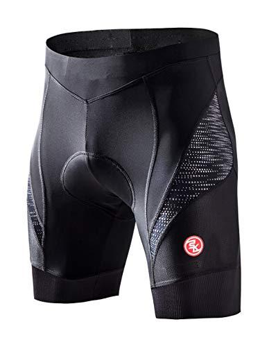 Souke Sports Pantaloncini Ciclismo Uomo,Pantaloncini da Bicicletta Imbottiti 4D,Calzoncini Ciclista,Pantaloncino Spinning,Pantaloncini Fondello MTB,Traspiranti,Asciugatura Rapida (all Black/XL)