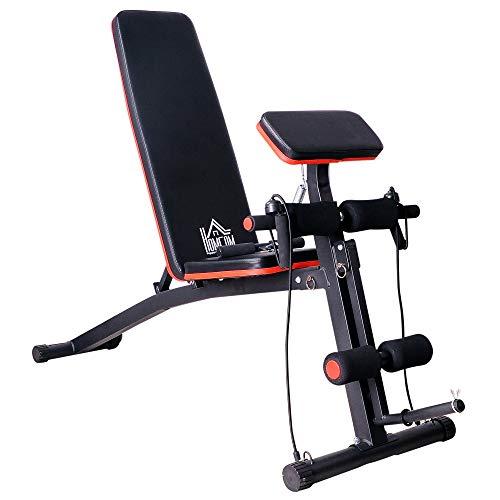 homcom Panca per Addominali Multifunzione, Panca Fitness per Allenamento Braccia e Gambe 54×160×106cm, Nero e Rosso