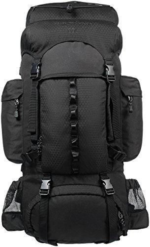 Amazon Basics - Zaino da escursionismo con telaio interno e cerniera antipioggia, 55 L, Nero