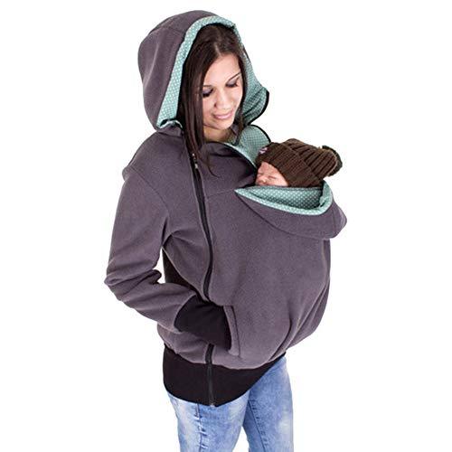 Gsaknc Felpe del Portare Cappuccio di maternità,Donne Inverno Canguro Porta Bebè con Cappuccio Multifunzionale Staccabile Felpa