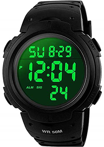 VDSOW orologio da uomo sportivo digitale, orologio da esterni, impermeabile, con sveglia e timer, militare, con retroilluminazione a LED, adatto a corridori, colore nero