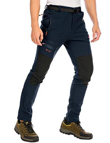 DAFENP Pantaloni Trekking Sci Uomo Invernali Pantaloni da Lavoro Termici Impermeabile Pantaloni Neve Softshell Montagna Escursionismo Caldo All'aperto (Small, A Blu Scuro)