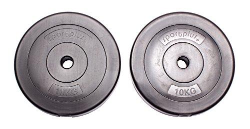 sportplus+ Pesi da 20 kg - Set di 2 x Piastre da 10 kg in Cemento rivestite in Vinile/Dischi da Bilanciere per Body Building e Sollevamento Pesi (20.00)