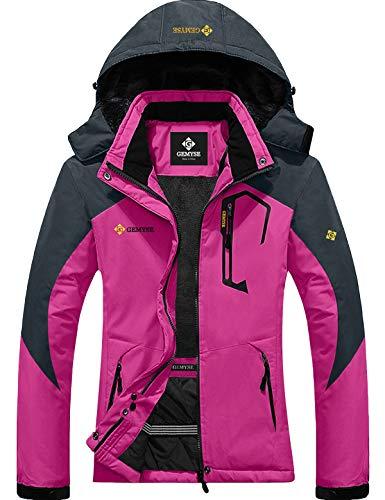 GEMYSE Giacca Invernale da Sci da Montagna Impermeabile da Donna in Pile Antivento con Cappuccio Invernale (Rosso Rosa Grigio,XXL)