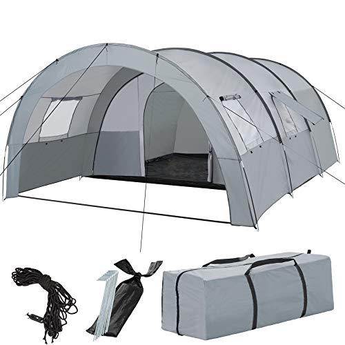 TecTake 403514 Tenda Familiare da Campeggio, Stile Tunnel, Adatta a Max. 6 Adulti, 4 Finestre, 3000 m Colonna d'Acqua, Camping Trekking Outdoor, incl. Borsa, Grigio