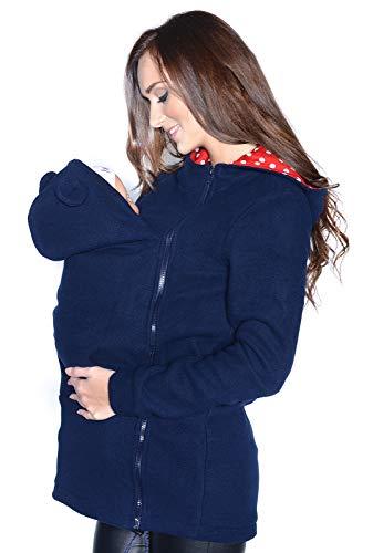 MijaCulture Maternity Fleece Caldo Pile con Cappuccio / Pullover per Due / per marsupi 3073A (L, Blu Navy)