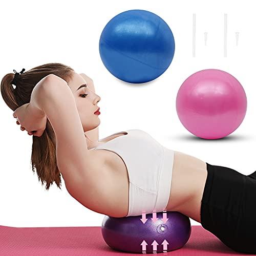 KYYLZ 2 PCS Yoga Pilates Palla da Esercizio Mini,Palle da ginnastica,25cm Yoga Fitness Ball,Palla Pilates Piccola Ginnastica,per Esercizi Addominali e Spalla Esercizi di Riabilitazione,Blu e Viola