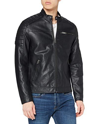 JACK & JONES Jcorocky Jacket Noos Giacca in Pelle Sintetica, Nero (Black Pattern: Pu), Medium Uomo