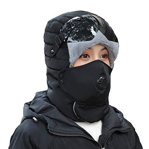 Unisex Inverno Cappelli Del Bombardiere, Nero Anti-Fog Occhiali Sport All'aria Aperta Cappello Caldo, Impermeabile E Antivento Bici Noleggio Cappello Del Pilota Di Caccia Caldo, Copricapo,Nero
