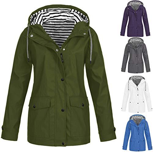 Giacca impermeabile da donna, impermeabile, traspirante, leggera, antivento, antivento, con cappuccio, giacca a vento, giacca per le mezze stagioni, verde militare, M