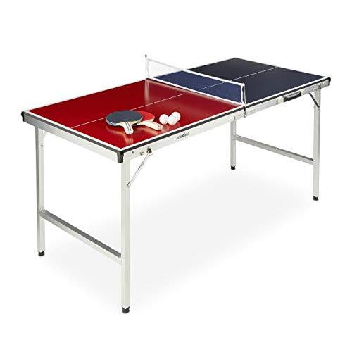 Relaxdays Ping Pong per Esterno,Pieghevole Portatile,Rete 2 Racchette 3 Palline,Alluminio MDF,67,5x151x67,5 cm,blu/rosso