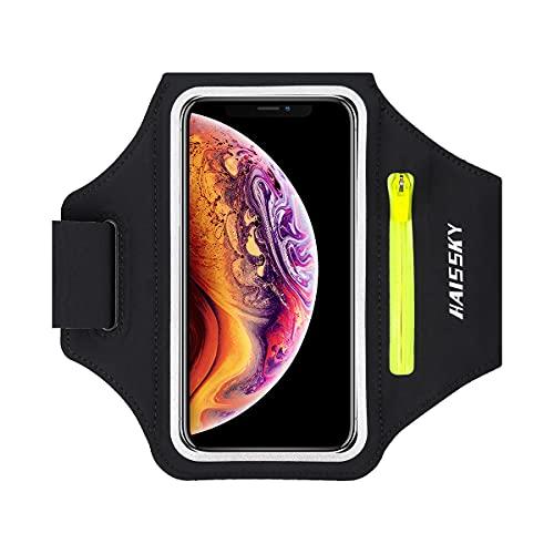 Fascia da Braccio Sportiva Running Armband per iPhone 11/11 Pro/XR/XS, Samsung Galaxy A50s/A30s/S10/S10+/S9/S9+/S8, HUAWEI/Xiaomi, fino a 6,8', Touch ID, Bracciale Sportivo con Supporto per Auricolari