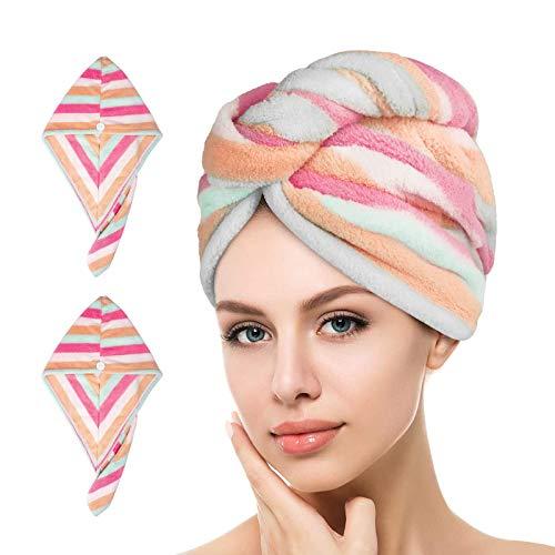 esafio - Confezione da 2 Asciugamani per Capelli in Morbida Microfibra, ad Asciugatura Rapida, Super assorbenti, Design Unico ed Elegante (Arcobaleno1)