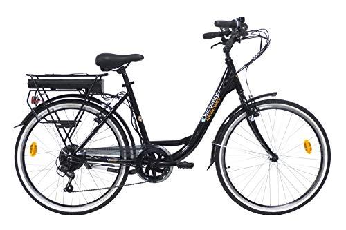 Discovery E4000, Bicicletta a pedalata assisita, City Bike con Ruote da 26', Cambio Shimano 6 velocità Donna, Nero