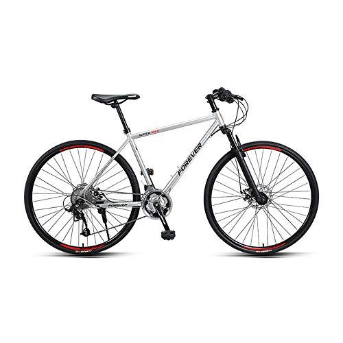 Bicicletta, bici da strada, bicicletta da strada a 27 velocità, bicicletta da corsa ibrida sportiva per adulti, con telaio in acciaio ad alto tenore di carbonio, ruota 700C, non facile da deforma