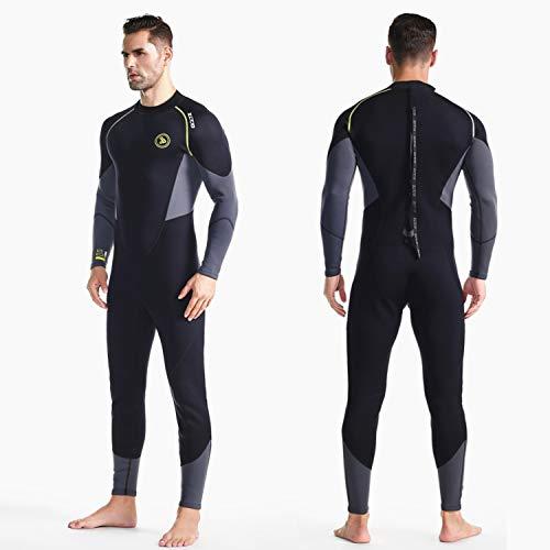 Muta da uomo ZCCO Costume da bagno in neoprene ultra elasticizzato da 1,5 mm, muta da sub per tutto il corpo con zip posteriore, un pezzo per lo snorkeling, nuoto subacqueo, surf (Nero, L)