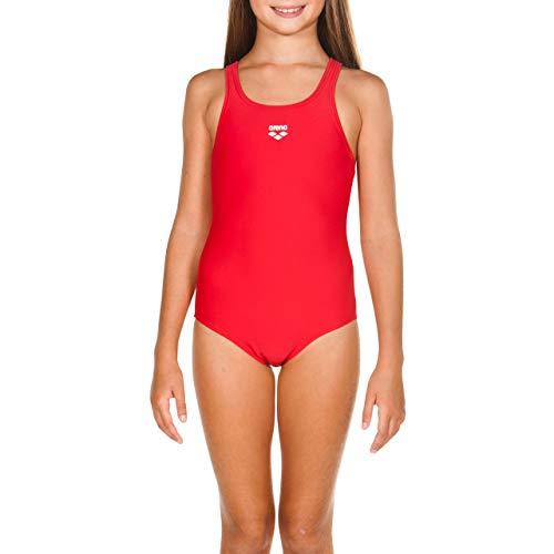 ARENA Dynamo Junior Costume Intero Bambina, Costume da Bagno Sportivo in Tessuto MaxFit Resistente al Cloro e al Sale con Protezione UV UPF 50+, 10-11 , Rosso (Red)