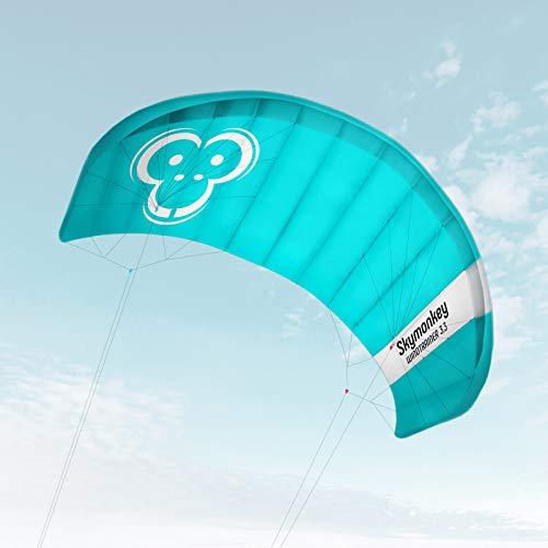 Skymonkey Windtrainer 3.3 Aquilone da trazione/Kite a 4 Cavi Ready 2 Fly 330 cm [Verde-Petrolio]