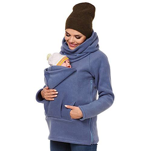 amropi 3-in-1 Donna Felpe del Portare Neonato Bambino Canguro Porta Bebè Felpa con Cappuccio di maternità Blu,S