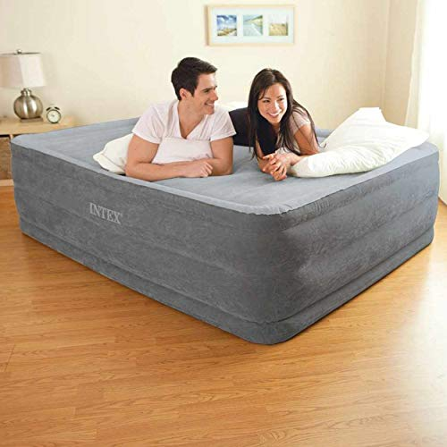 Intex 64418 Materasso Classic Matrimoniale Comfort Plush Hise Rise, Bicolor, con Pompa Interna,152 x 203 x 56 cm